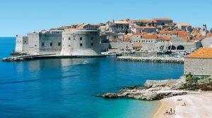 01A4P3GB; The Old City Skyline & Beach, Dubrovnik, Dalmatian Coast, Croatia